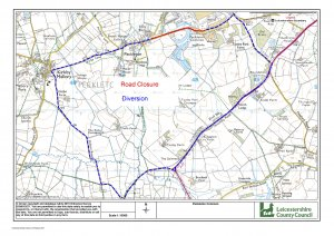 Advance Notice of road closure in Peckleton on 27th March 2019